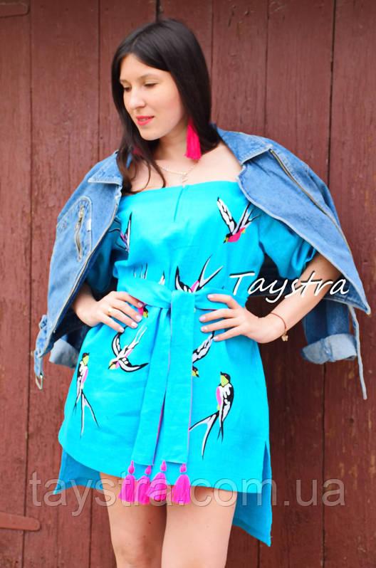 Вышитая туника платье лен вышиванка бохо стиль этно, платье открытые плечи