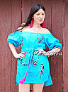 Вышитая туника платье лен вышиванка бохо стиль этно, платье открытые плечи, фото 5