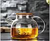 Заварочный стеклянный чайник с фильтром-пружинкой в носике, объем 1 л с бамбуковой крышкой (8,5 см)