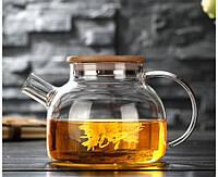 Заварочный стеклянный чайник с фильтром-пружинкой в носике, объем 1 л с бамбуковой крышкой (8,5 см), фото 1