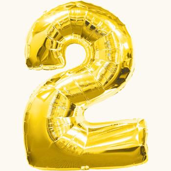 Фольгированный шар цифра 2 золотой,70см