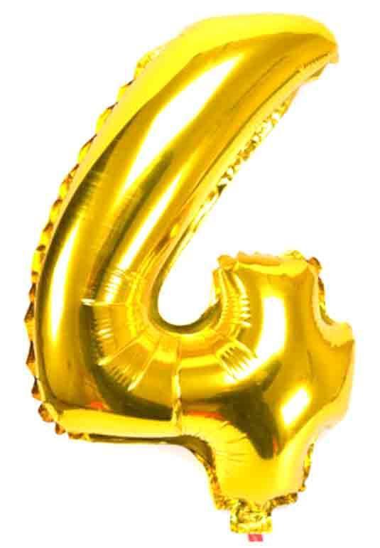 Фольгированный шар цифра 4 золотой,35 см