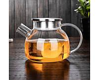 Заварочный стеклянный чайник с фильтром-пружинкой в носике, объем 1 л с металической крышкой (8,5 см), фото 1