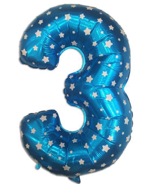 Фольгированный шар цифра 3 голубой, 84х46см