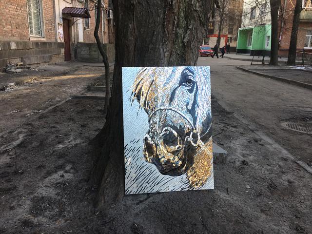 силуэт лошади зеркальная мозаика