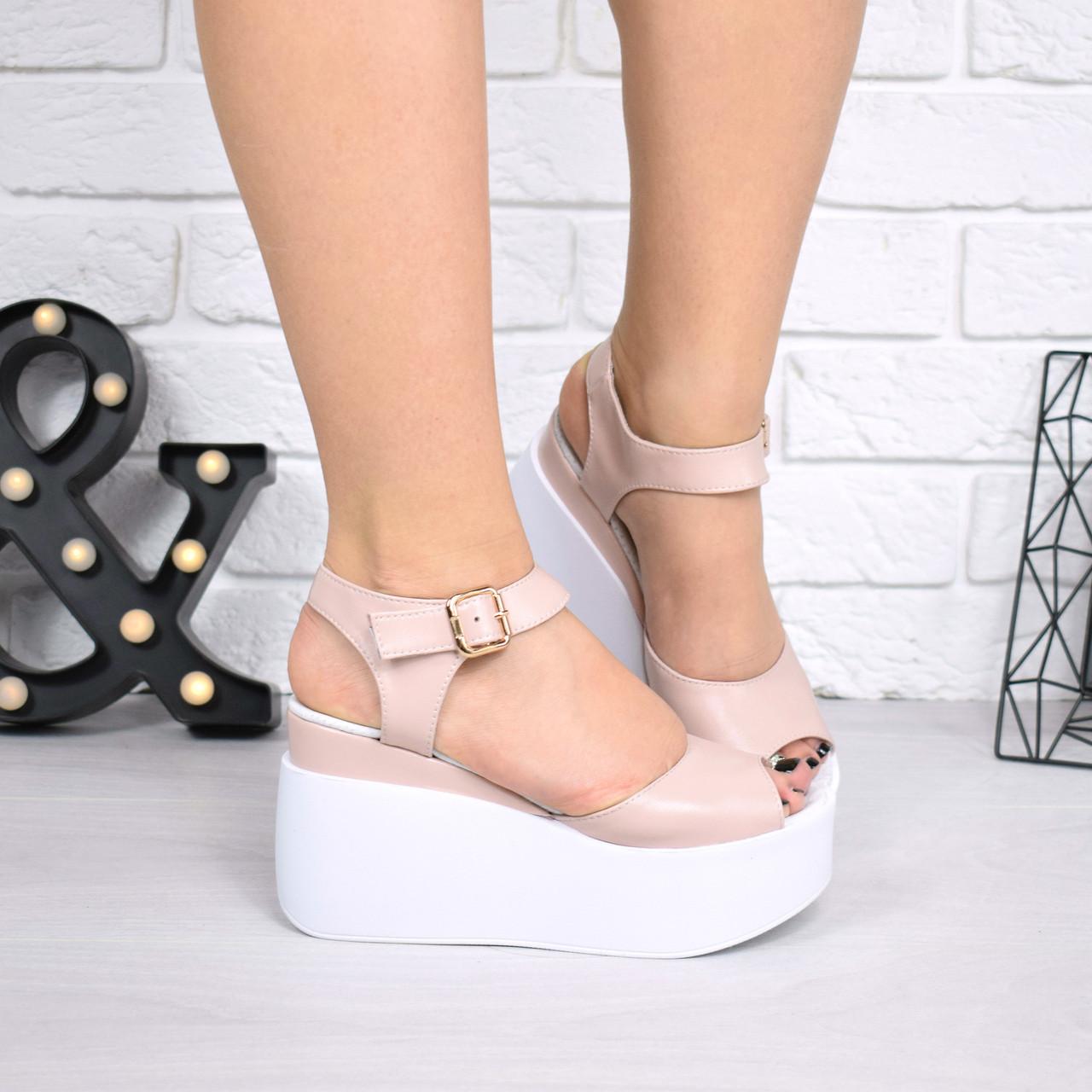"""Босоножки, туфли, сандали, сабо женские на платформе пудровые """"Morse"""" КОЖА, повседневная, летняя, обувь"""