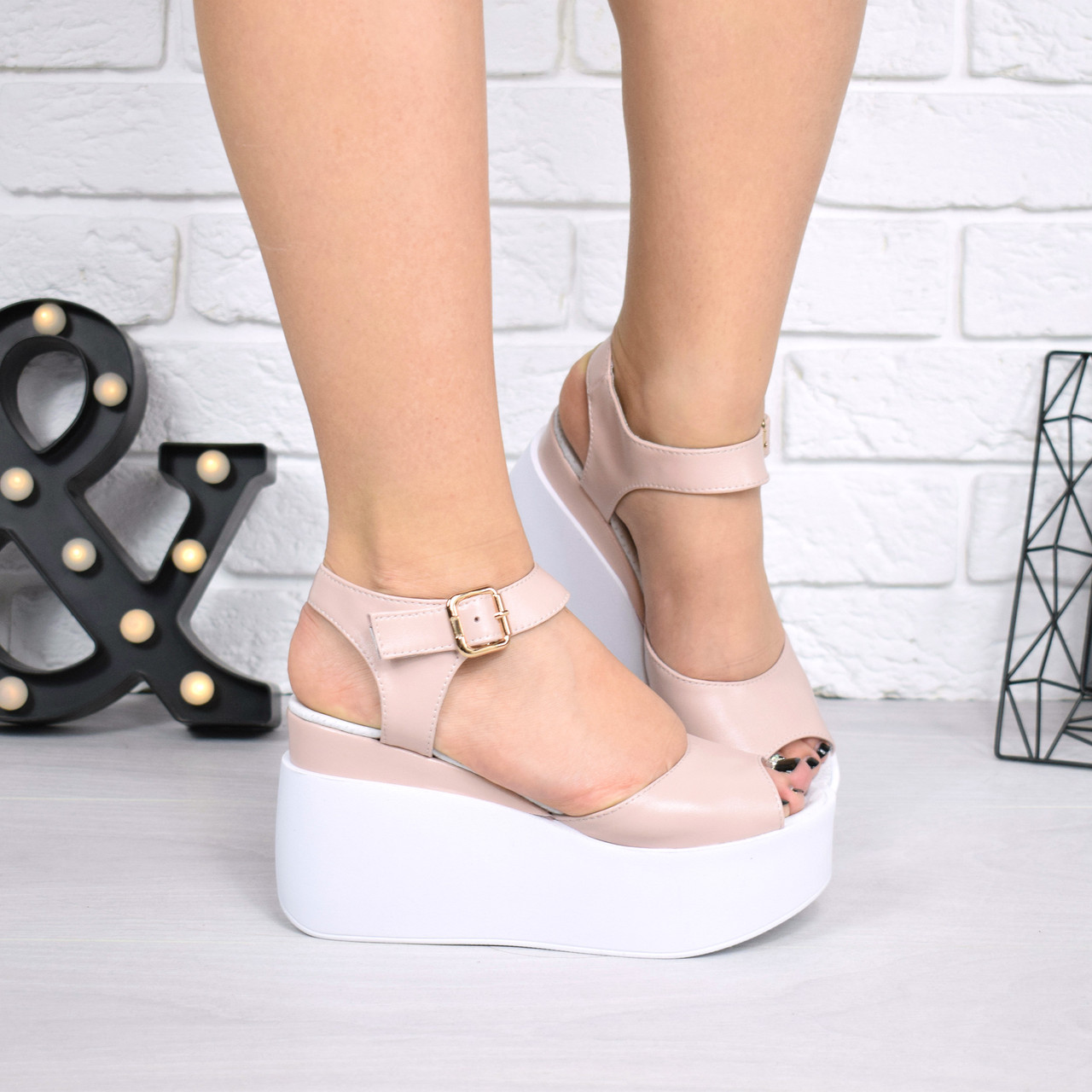 33433af01 Босоножки, туфли, сандали, сабо женские на платформе пудровые