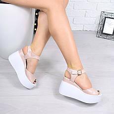 """Босоножки, туфли, сандали, сабо женские на платформе пудровые """"Morse"""" КОЖА, повседневная, летняя, обувь, фото 3"""