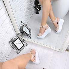 """Босоножки, туфли, сандали, сабо женские на платформе пудровые """"Morse"""" КОЖА, повседневная, летняя, обувь, фото 2"""