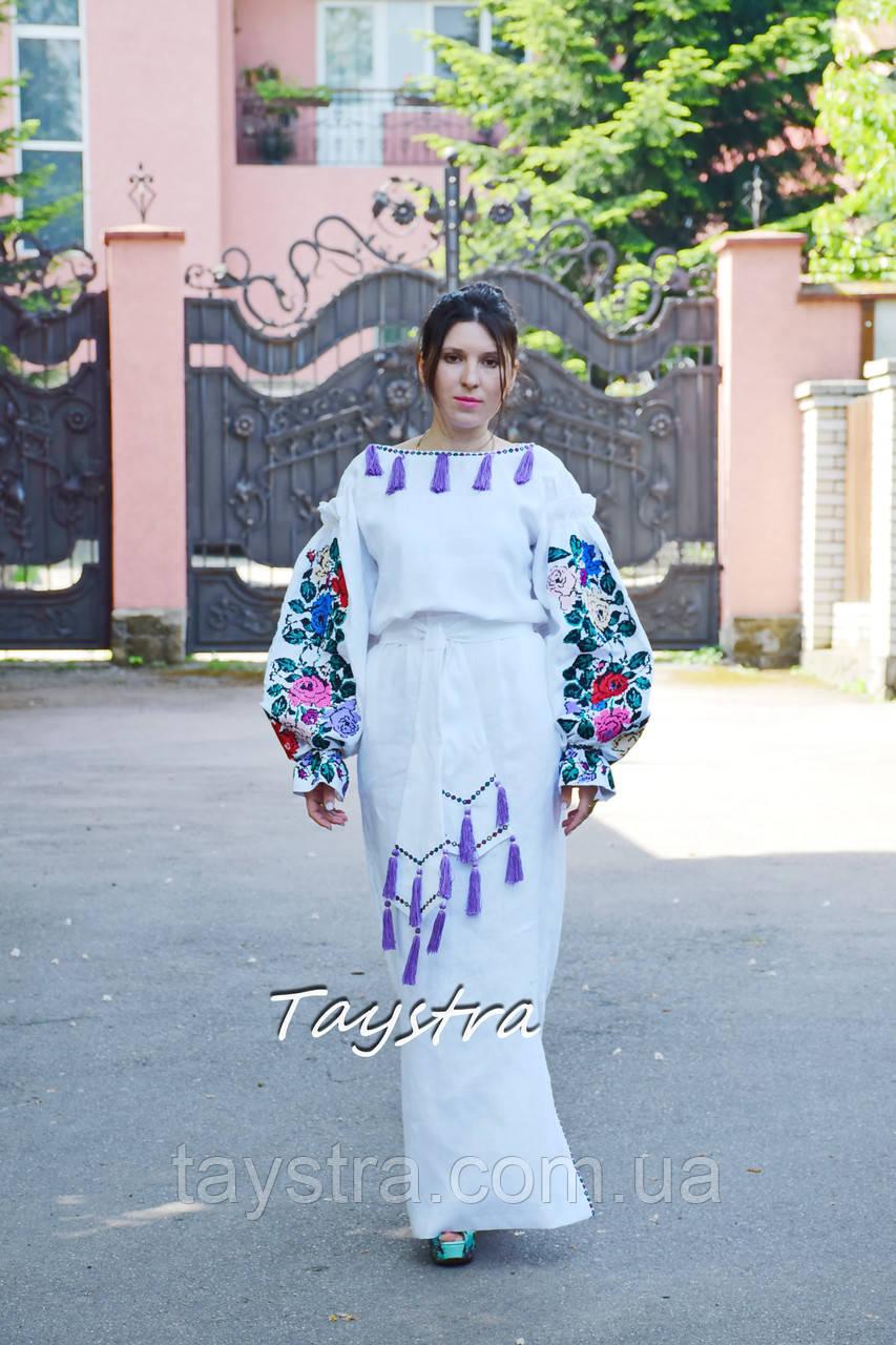 Свадебное платье вышитое выпускное платье бохо лен этно бохо-стиль ... 13371727f732f
