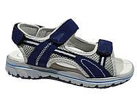 Детские качественные спортивные босоножки мальчикам р.34-37 на липучках с кожаной ортопед стелькой, синие
