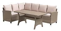 Комплект садовой мебели из искусственного ротанга светлый (угловой большой диван и столик)