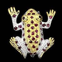 """Красивая брошь """"Лягушонок"""" с  рубинами,  от студии LadyStyle.Biz, фото 1"""