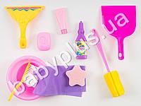 Набор для уборки, миска, щетка, совок, ершик, губка, моющие средства, в кульке