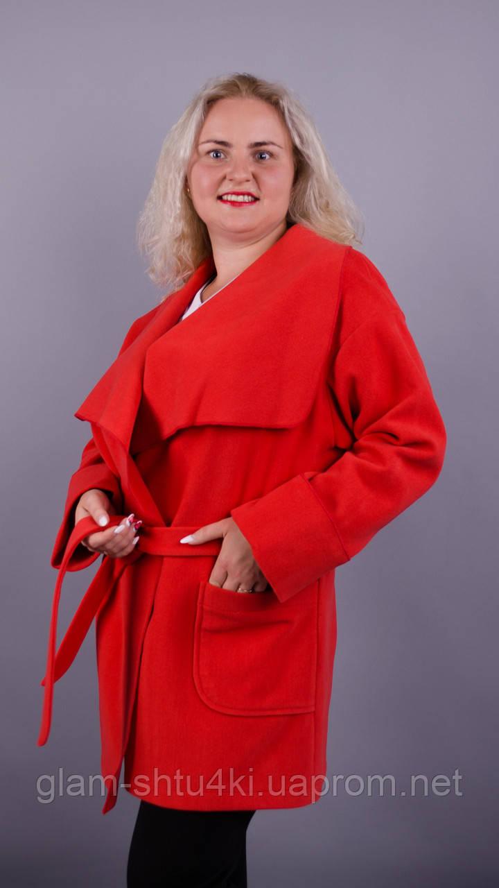 Софі. Стильне пальто великих розмірів. Червоний.  продажа 50cefae69d103