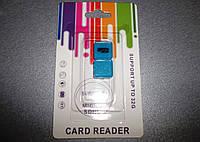 USB - кардридер microSD  внутренний (адаптер, cardreader, карт-ридер) Голубой