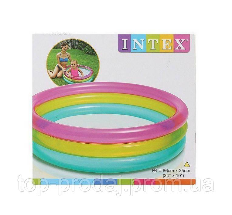 """Надувной бассейн Intex для детей 57104, Бассейн детский """"Радуга"""" 86*25см, Бассейн для маленьких от 1 года"""