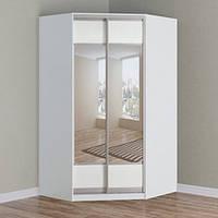 Шкаф-купе угловой белый Зеркало/Зеркало