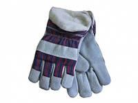 """Робочі замшеві утеплені рукавички посилені шкірою """"Замш утеплений"""""""