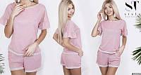 Розовый летний легкий женский костюм с шортами из люрекса. Арт-6622/52