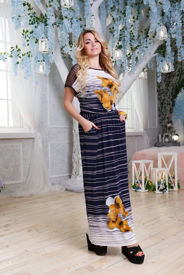 Цвет-17 Длинного ботального летнего платья Ирма