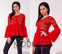 Ярко красная женская блуза из набивного стрейчевого гипюра на трикотажной подкладке. Арт-6626/52