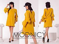 Горчичное трикотажное женское платье рубчик с двойными рюшами на рукавах.  Арт-6630/52, фото 1