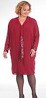 Платье Pretty-637 белорусский трикотаж, красные тона, 60