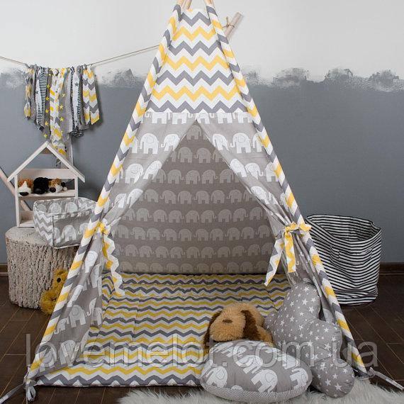 Дитячий намет з вікном + килимок + 1 подушка, вігвам для дітей, курінь для діток, намет для дітей
