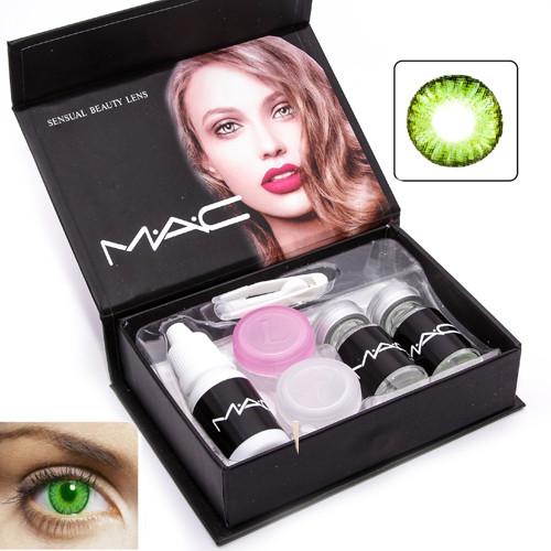 d68ce37d36db Цветные косметические контактные линзы для глаз MAC Green зеленые