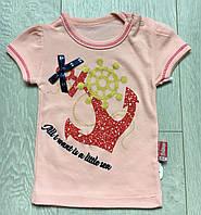 Футболки для новорожденных для девочек 3 мес-1 год,персикового цвета, фото 1