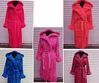 Женский махровый халат с капюшоном-52-54-56
