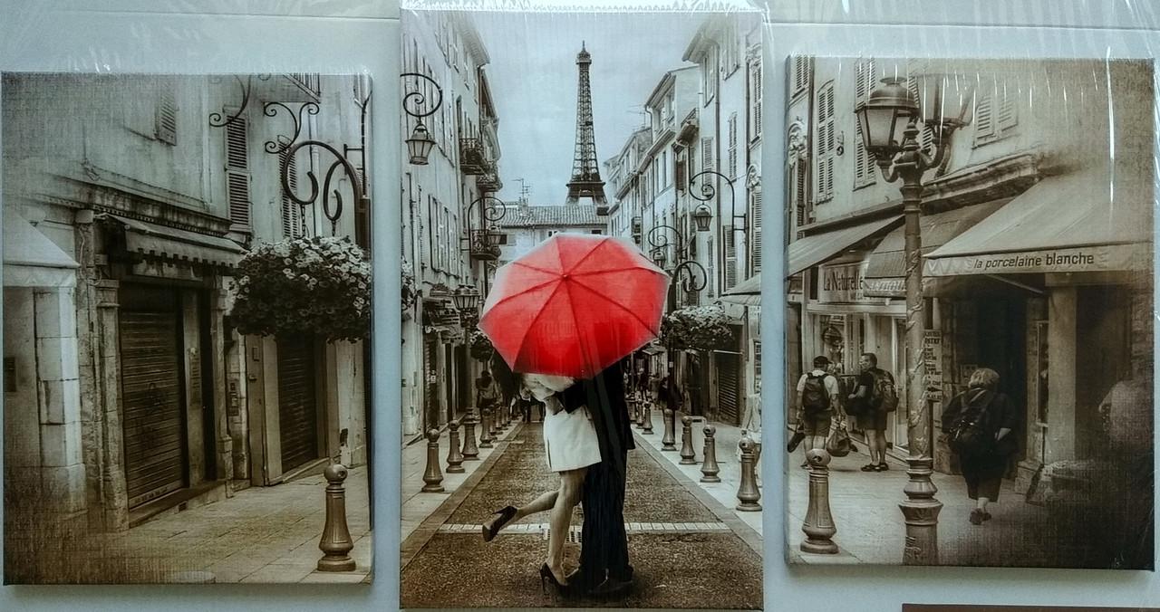 Мини модуль, картина,  70х110 см, 3 части, Париж