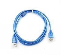 Удлинитель USB 2.0, 3m, АM-AF, 1 феррит, Gresso GR3.0AMAF1F