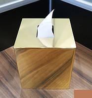 Золотой бокс для салфеток настольный для ванной KUGU 221G