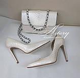 Жіночі білі перлинні туфлі з пітона на шпильці, фото 4