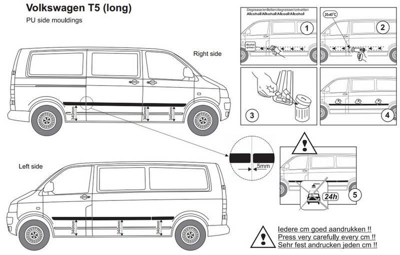 F-38L side mouldings Volkswagen Transporter T5 Long 2003-2015
