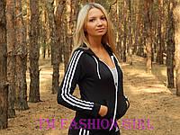 """Женская спортивная кофта Adidas """"Триколор"""" с длинным рукавом. Распродажа черный с белыми лампасами, 42"""