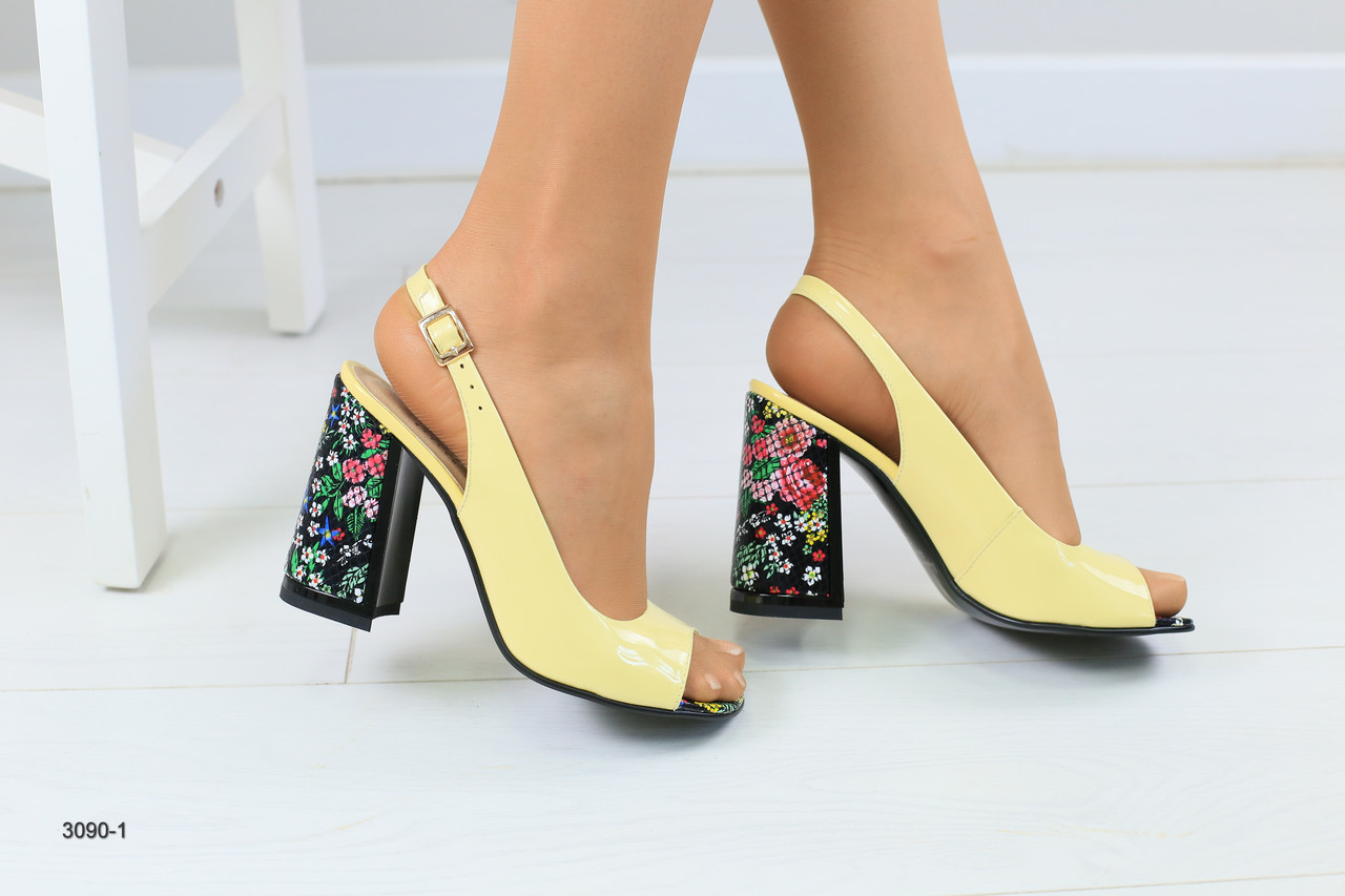 2aab937758d0 Женские желтые кожаные босоножки на удобном каблуке - Интернет-магазин  обуви Vzuto в Чернигове