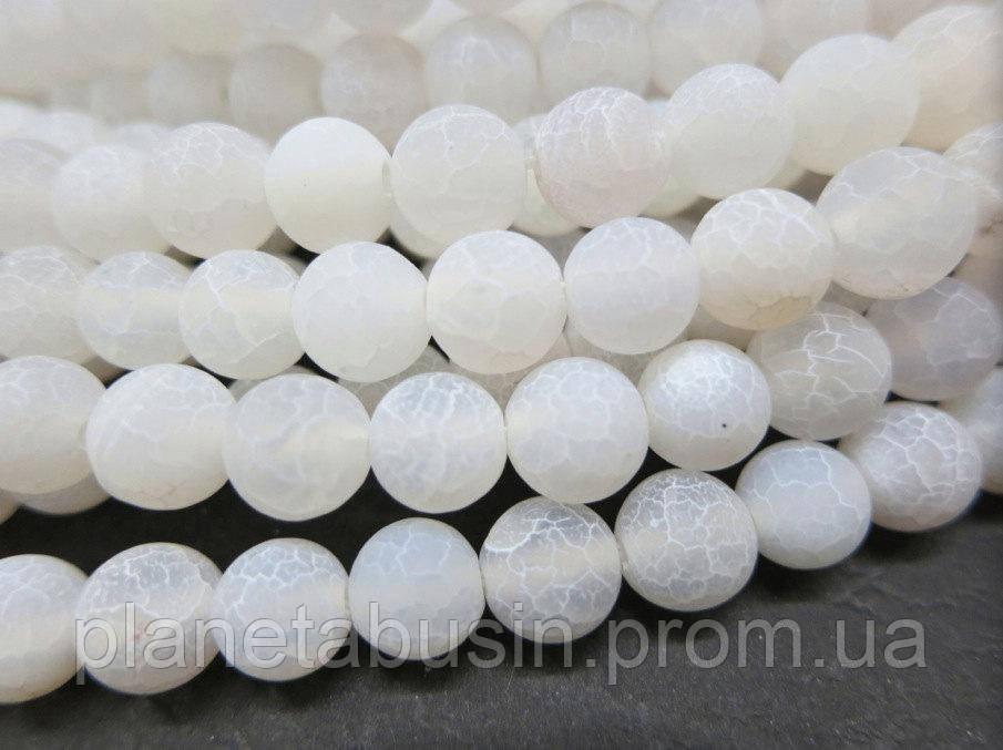 8 мм Матовый Белый Агат, CN366, Натуральный камень, Форма: Шар, Отверстие: 1 мм, кол-во: 47-48 шт/нить