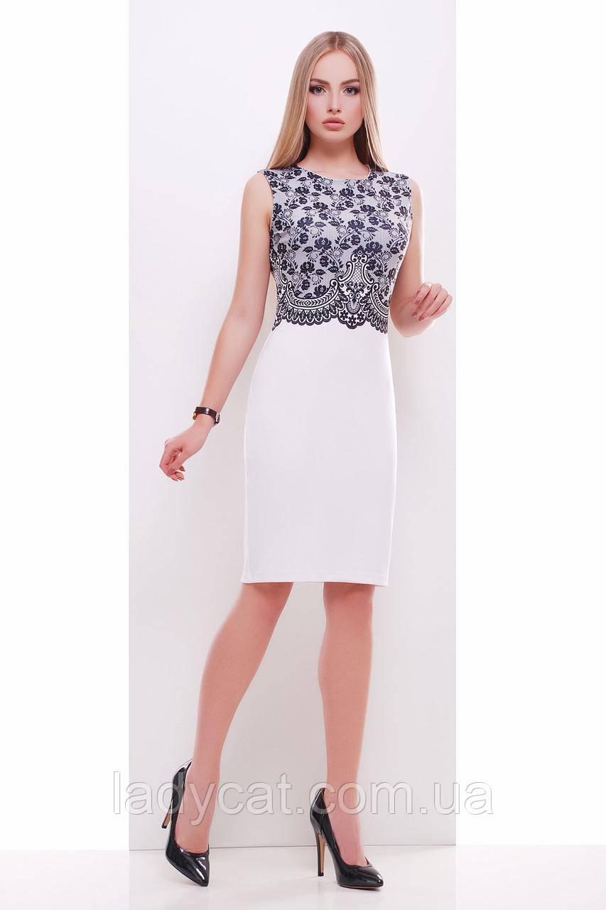db7aa574545 Женское летнее белое платье футляр до колен с черным кружевным принтом -