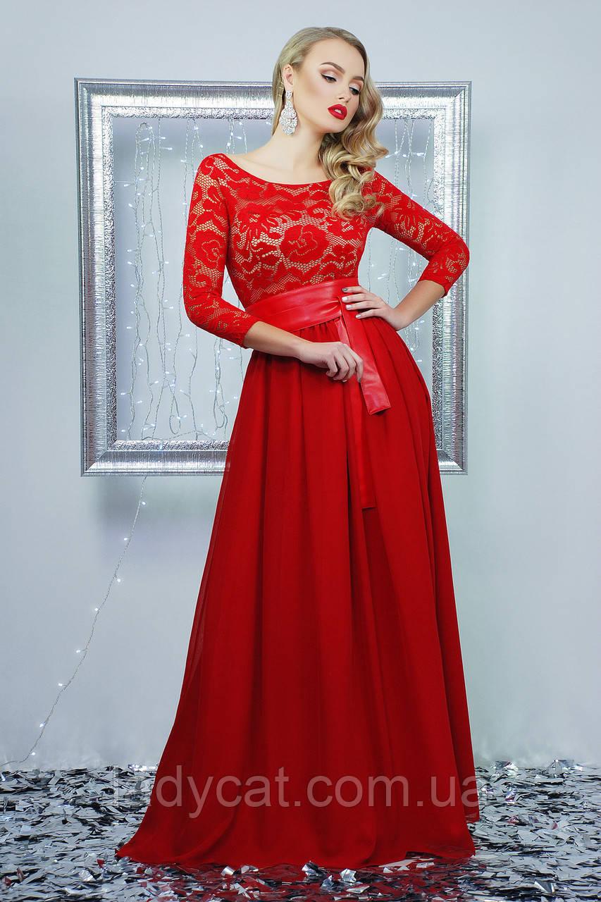 7e8b4fafed3 Кружевное длинное вечернее платье красного цвета  продажа