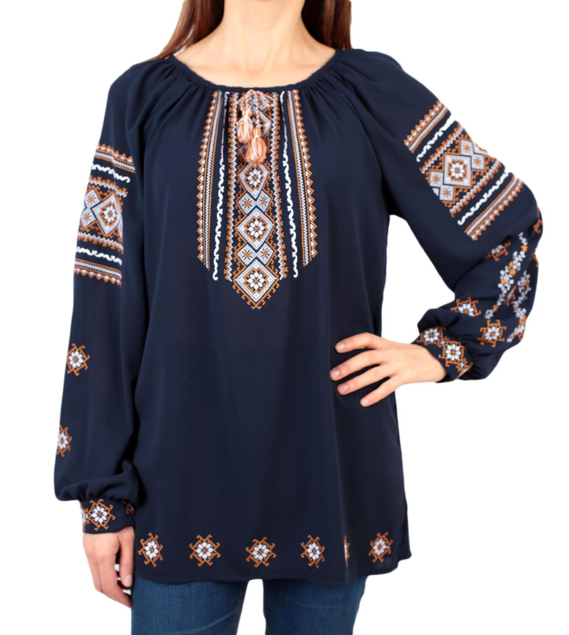 52696166ba1 Жіноча шифонова блузка синього кольору з етнічним орнаментом ...