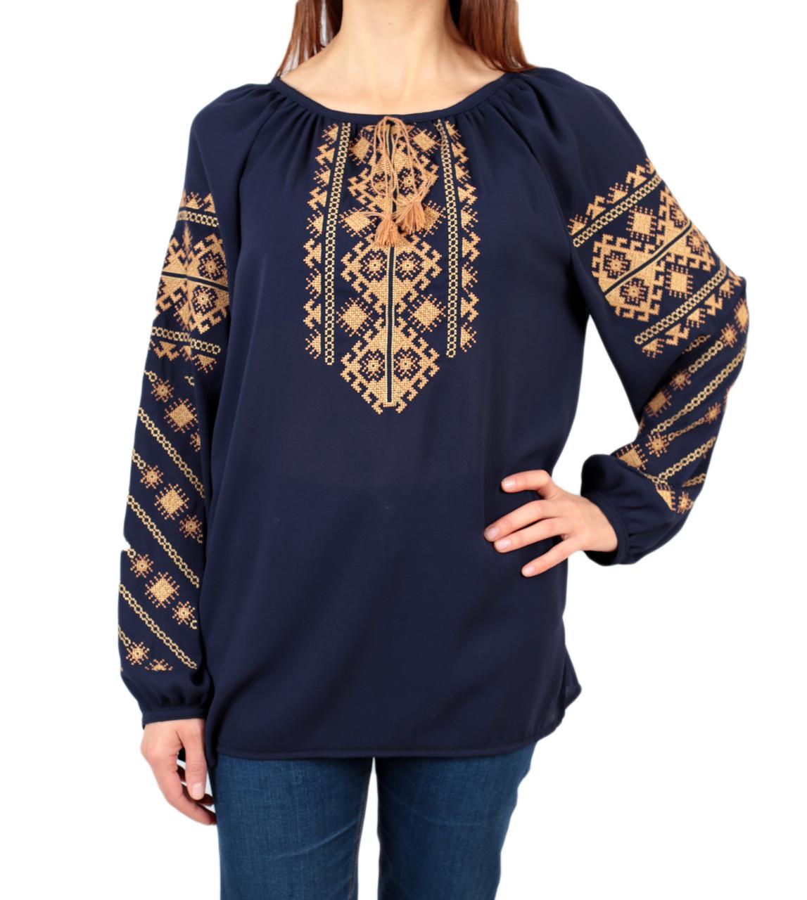Жіноча шифонова блузка синього кольору з етнічним орнаментом