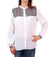 Жіноча вишита туніка на штапельній тканині білого кольору, фото 1