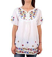 05af1beee11 Жіноча вишита туніка на штапельній тканині білого кольору на короткий рукав