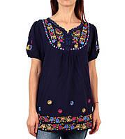 a4dc6d2d896 Жіноча вишита туніка на штапельній тканині синього кольору на короткий рукав