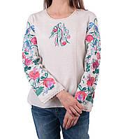 Жіноча вишиванка бежевого кольору з машинною вишивкою недорого, фото 1