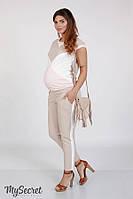 Трендовые брюки с лампасами для беременных CRAYON LIGHT, бежевые, фото 1