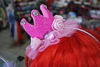 Детская корона на ободке.Розовая.